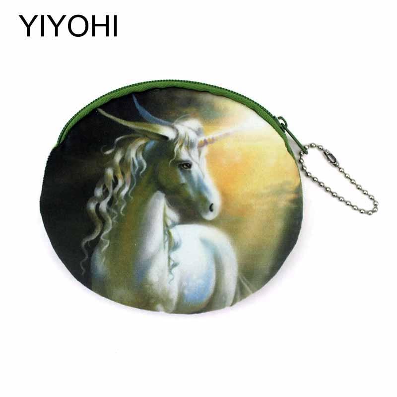 YIYOHI New Novelty 3D Printing Unicorn/Skull head Zipper Plush Coin Purse Kawaii Children Coin Purse Women Wallet Mini Handbag men s 3d printing skull