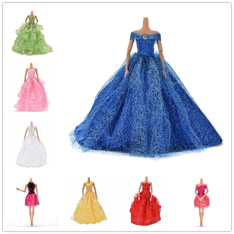 11.11 Sale Colorful Elegant Handmade Summer Bridal Gown Princess Dress Clothes Wedding Party Dress For Barbie Doll Acessories(China)