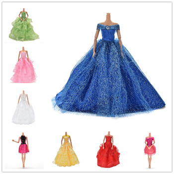 leadingstar 2017 new wedding bridal dress princess gown evening party dress doll clothes outfit for barbie doll for kids gift 11.11 Sale Colorful Elegant Handmade Summer Bridal Gown Princess Dress Clothes Wedding Party Dress For Barbie Doll Acessories