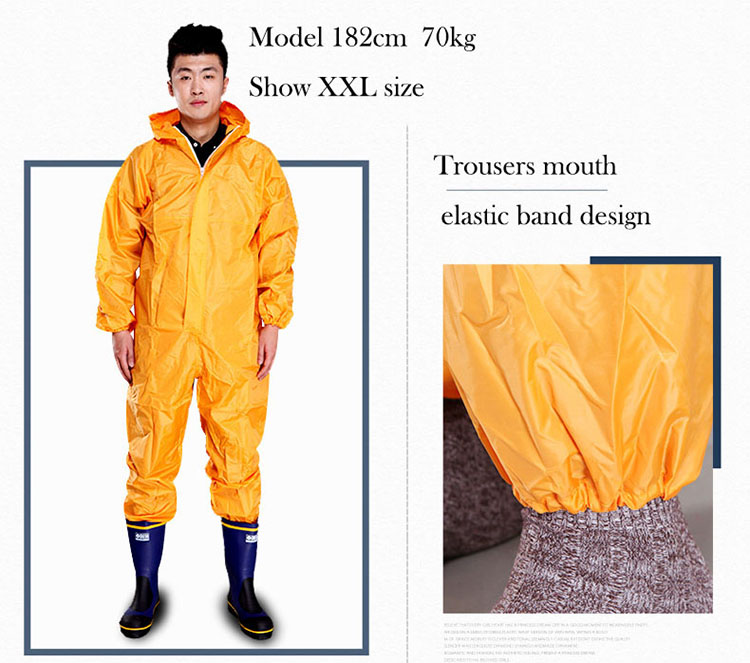 Men Waterproof Overalls Hooded Rain Coveralls Work Clothing Dust-proof Paint Spray Male Raincoat Workwear Safety Suits M-XXXL (5)