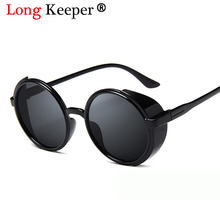 Long Keeper Brand 2018 Vintage Women Steampunk Sunglasses Design Round Sun glasses Multi-color Lens PC Frame UV400