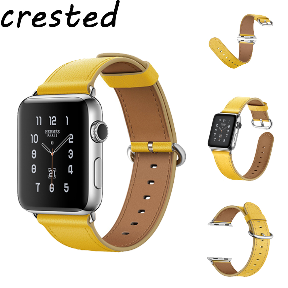 CRESTED Genuine Leather band for apple watch 3/2/1 iwatch 42mm 38mm wrist bracelet belt with metal buckle replacement strap