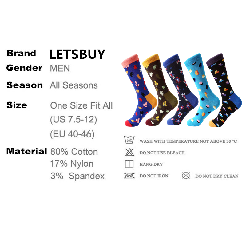 LETSBUY 5 pair/lot Mens Socks Combed Cotton Colorful Skateboard Socks Funny Patterned Fashion Casual Dress Wedding gift Socks