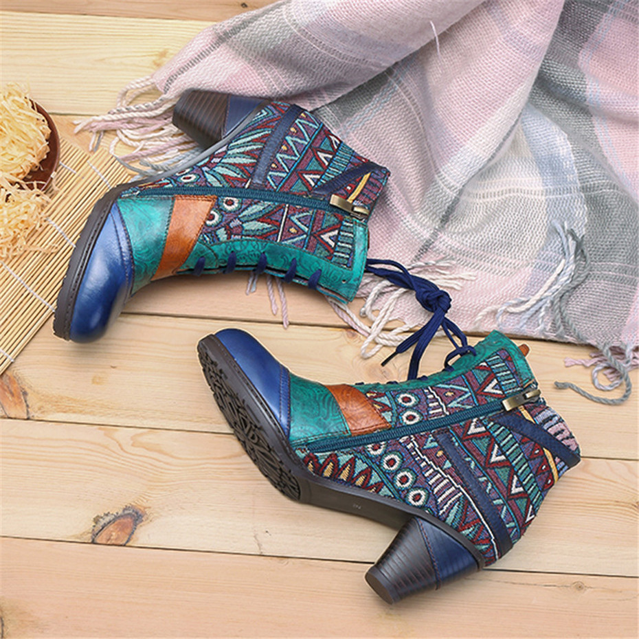 D Knight Bohemian Splicing Women Boots Retro Genuine Leather Shoes Woman Zipper Mid Heels Ankle Boots Spring Autumn Women Shoes (3)