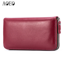 AOEO New Wallet Female Genuine Leather Women Clutch Long Purse Red Cowhide valet Phone Money Bag Perfect Card Organizer Wallets fashion women genuine leather red black bag cowhide wallet card money holder clutch purse long short purple original wallets