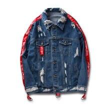 6015e7380a878 Otoño Casual Ripped Hole Denim chaqueta invierno hombre de alta calidad  suelta Streetwear cintas manga Denim chaqueta Hip Hop