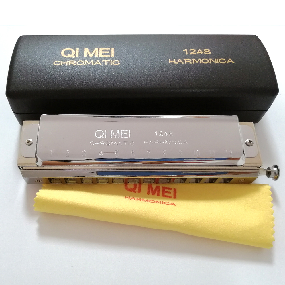 Qimei 12 Holes Chromatic Harmonica Mouth Organ Instrumentos Key Of C Professional Musical Instruments Square Mouthpiece