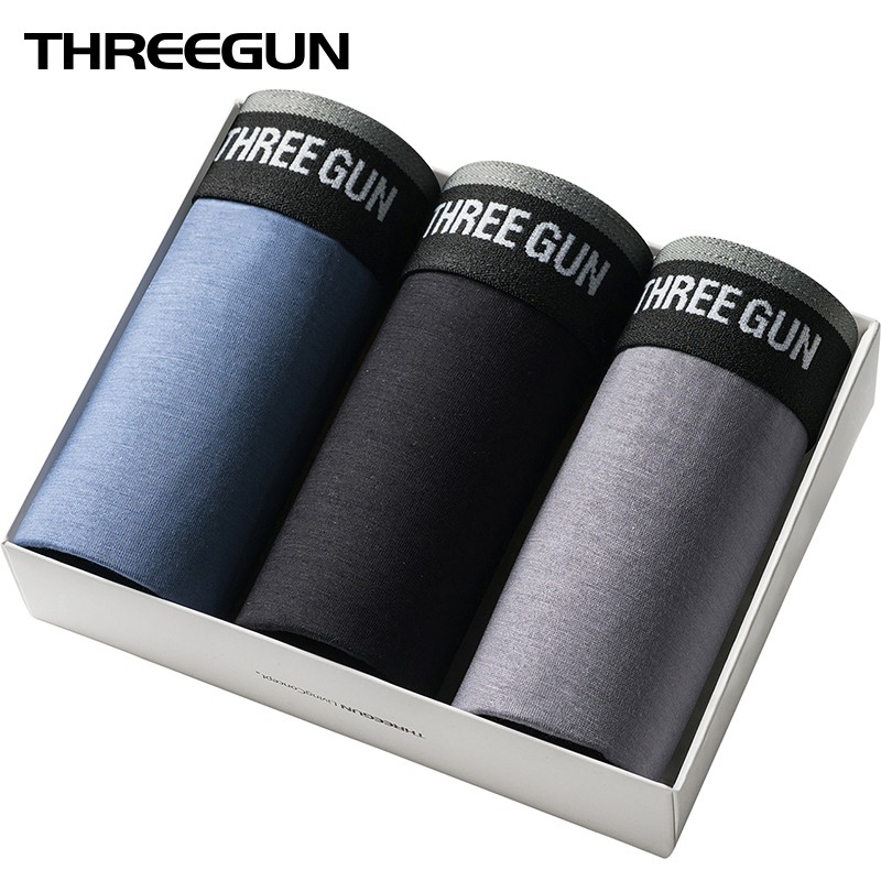 THREEGUN Boxers Mens Underwear Panties Male Plus-Size Soft Solid Homme Middle-Waist Lot
