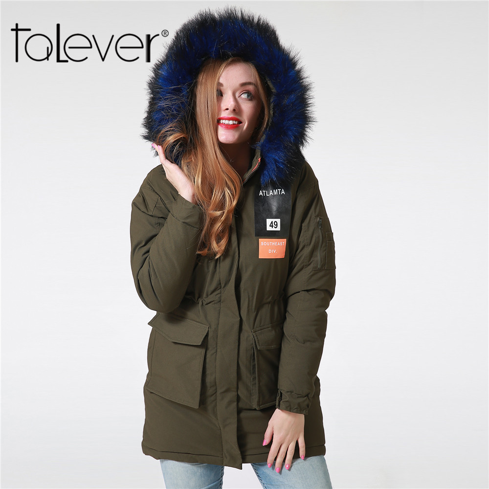 Winter Women Long Parka Army Green Faux Colorful Fur Hooded Tunic Pocket Casual Female Thick Coat Outwear Padded Jacket Talever new 2015 autumn winter outdoors medium long fleece jacket fur hooded army green parka men thickening coat 10