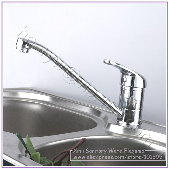 L15887 Luxury Deck Mounted Chrome Color Brass Material Hot Cold Water Kitchen Tap