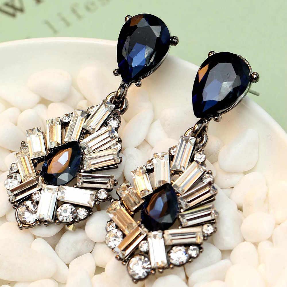 Indah perempuan anting mode baru kedatangan merek manis logam dengan permata kristal anting anting untuk perempuan gadis E307