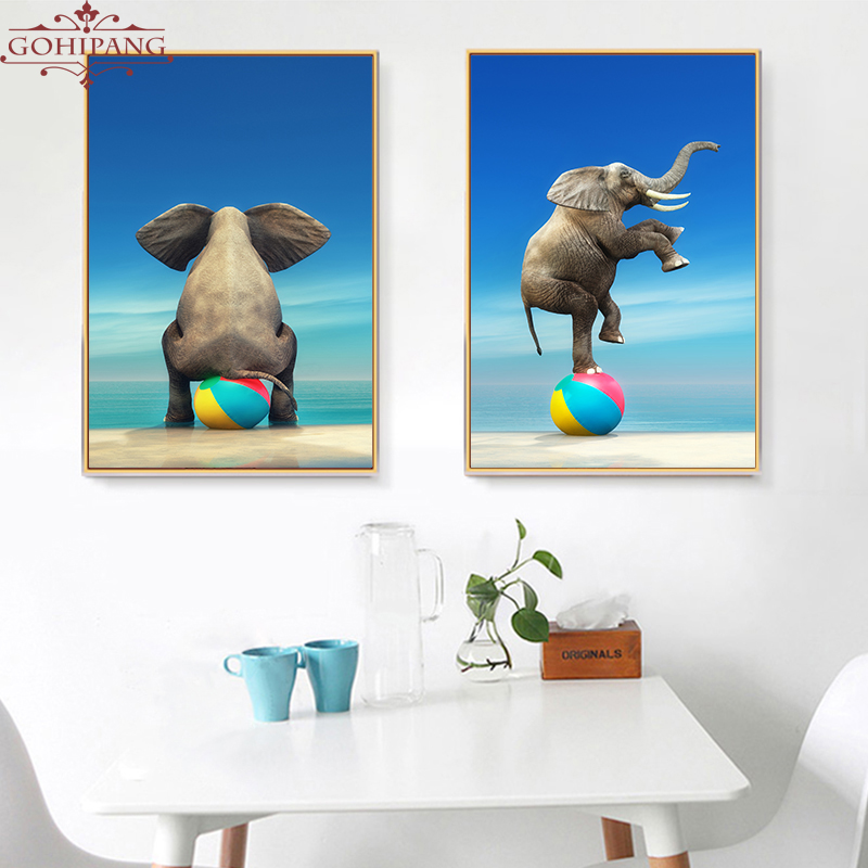 Gohipang Elephant Circus Show Abstract Landscape Art Canvas Painting Print And Poster Picture Wall Home Decor For Living Room african elephant
