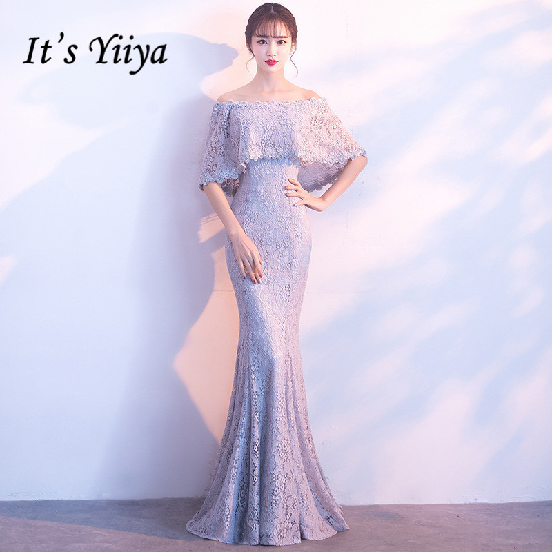 It's YiiYa Boat Neck Off The Shoulder Half Sleeves Dinner Party Formal   Dresses   Floor-Length Trumpet   Evening     Dress   MX016