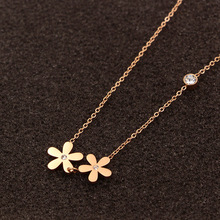 Free Shipping Double Flower Rose Gold Colour Stainless Steel Necklace