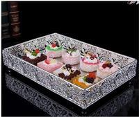 30*20cm rectangle metal silver decorative serving trays decorative metal trays glass mirror tray for home decoration FT035