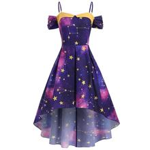 Summer Plus Size Maxi  dresss Fashion off the Shoulder Star Galaxy Women Dress femme