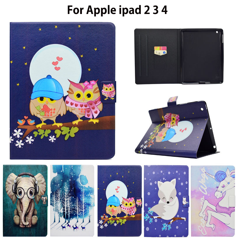 Fashion Tablet Case For Apple ipad 2 3 4 Smart Case Cover For iPad4 iPad 3 iPad2 Funda Tablet PU Leather Stand Shell