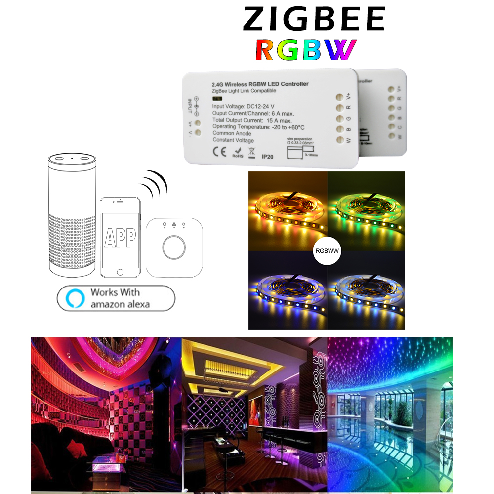 Home Smart 5M 300 LEDs RGBW Strip Light DC12V Phone APP Hue Link ZIGBEE Strip Controller by Amazon Echo Alexa plus zll lights home smart zigbee strip controller work with amazon alexa voice control waterproof rgb strip light hue wireless controller