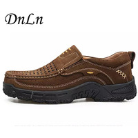 Size 38-44 2017 Spring And Summer Hiking Shoes Genuine Leather Men Breathable Outdoor Shoes Anti Skid Walking Shoes D30