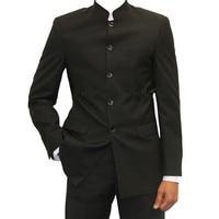 Black Men Tuxedo Custom Size 2 piece Tunic Tunic Slim Casual Dress Up Business Wedding Suit Tops & Pants