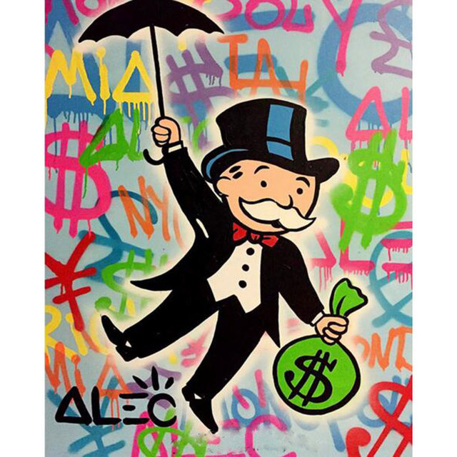 Handmade pop art Alec Graffiti Custom oil painting money painting on canvas wall art pictures for living room urban street art
