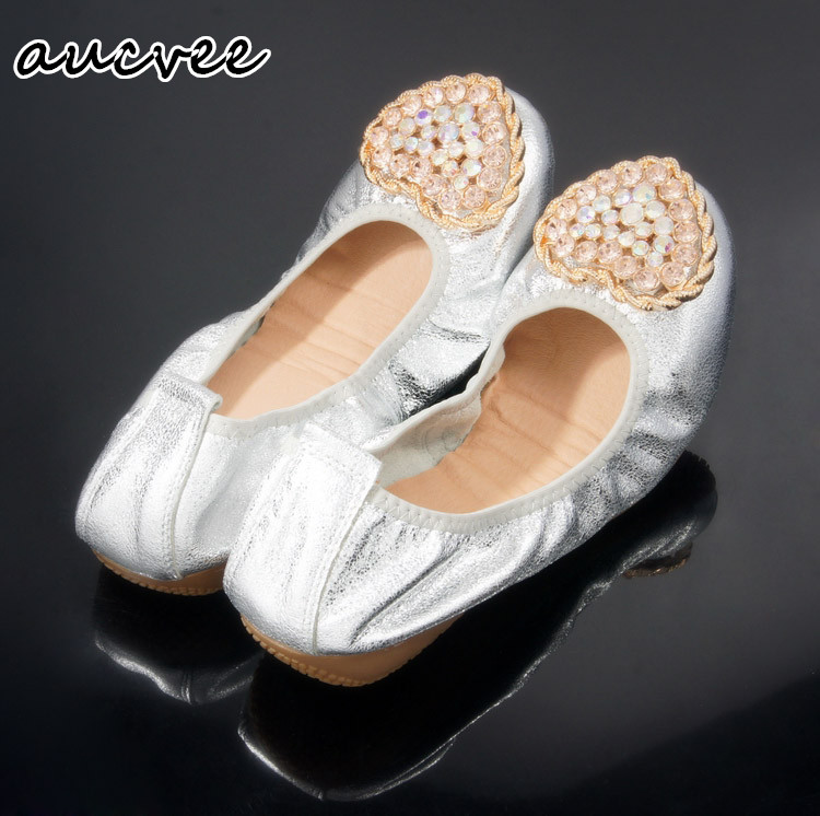 Heart wedding shoe Diamond soft bottom Women's shoes Flat shoes Round head  Genuine leather Gold and silver Big yards Cone shoes - Online Get Cheap Silver Flat Wedding Shoes -Aliexpress.com