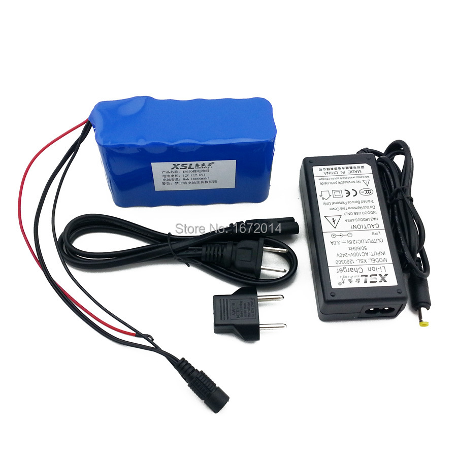 8000mAh DC 12V rechargeable lithium-ion battery pack with a 12V / 3A adapter super discount sale.