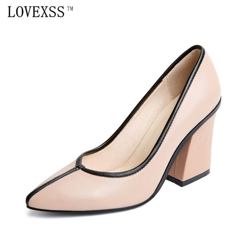 Lovexss женская обувь из натуральной кожи Насосы модные, пикантные высокие сапоги на каблуке Острый носок Свадебная вечеринка 8.5 см очень больш...