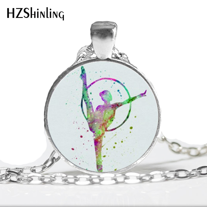 HZ--A509 New Gymnastics Necklace Love Gymnastics Pendant Sport Jewelry Glass Photo Cabochon Necklace HZ1