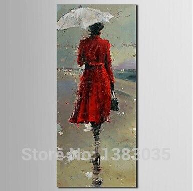 Красное платье маслом