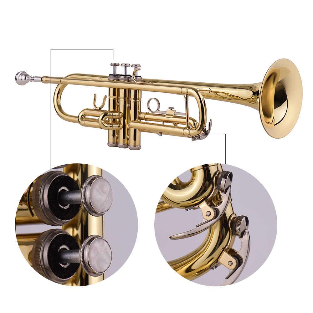 Muslady Padrão Bb Latão Trompete Instrumento de Sopro com Bocal Carreg o Saco de Pano de Limpeza Luvas de Sintonizador