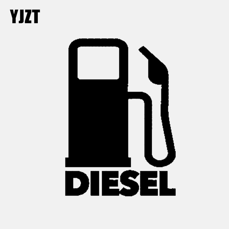 YJZT 8.1CM*11.5CM DIESEL Fuel Vinyl Decals Fun Car Sticker Black/Silver C3-0776