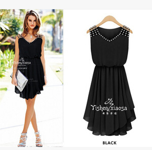 Women Summer Cute Asymmetrical Sleeveless Black And Blue Dress Knee Length Girls Europe Wear