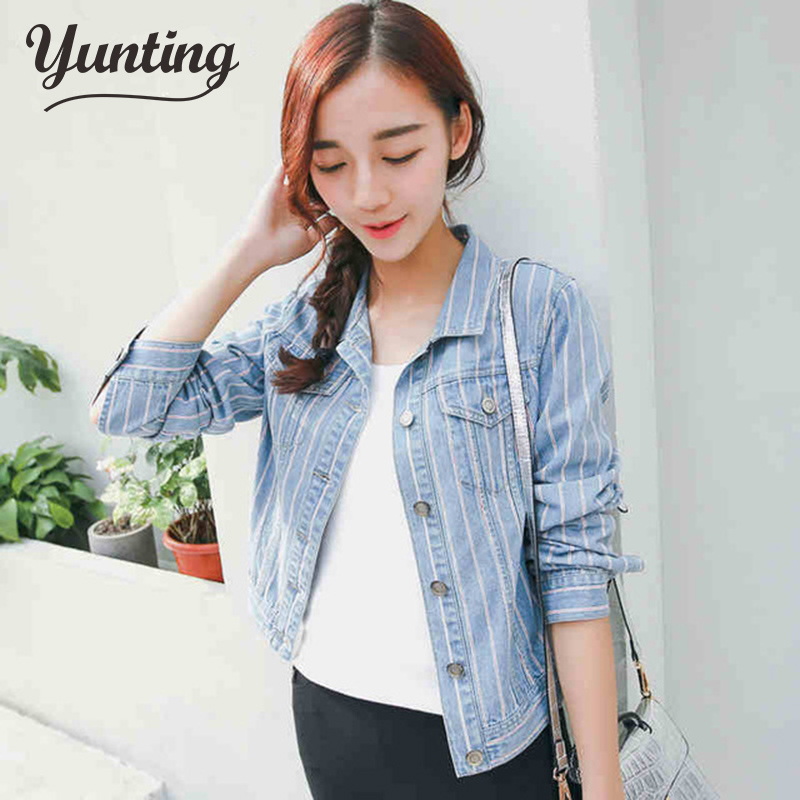 2018 New Arrival womens Denim Jeans Jacket Female Striped Pocket Jacket Fashion Korea Style Fitness Jeans Spring Jacket