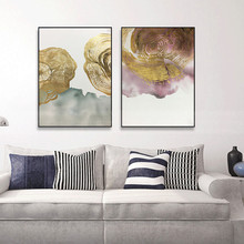 2 pieces gold leaf abstract canvas painting  wall art pictures for living room home decor original thick texture decoration