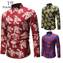 TIAN QIONG Spring 2019 New Long Sleeve Casual Beach Hawaiian Mens Shirt All Over Printed Luxury Brand Clothes ML28