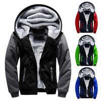 Jaqueta com capuz 2019 quente causal velo com capuz outerwear casacos masculino outono inverno sólido grosso zíper jaquetas casacos masculino