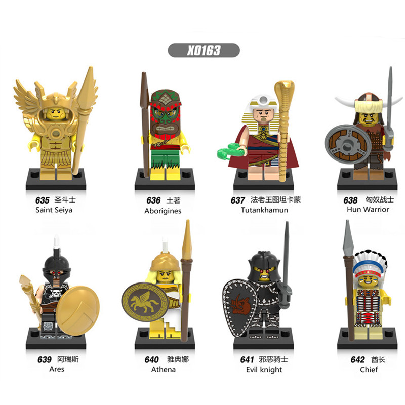 Single Sale Building Blocks X0163 Tutankhamun Hun Warrior Saint Seiya Super Hero Star Wars Bricks Dolls Kids DIY Toys