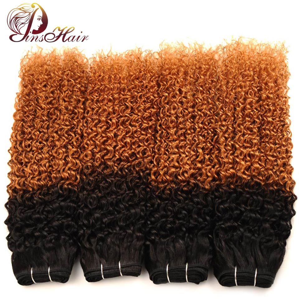 Pinshair Ombre Jerry Curly Human Hair 4 Bundles Deals 1B 30 Ombre Brown Color Indian Hair Weave Extensions Non Remy No Shedding