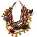 Moda invierno Estilo Declaración Babero Del Collar Del Collar de Múltiples Capas de Cristal Colgante Con Incrustaciones Maxi Collares Joyería de Las Mujeres