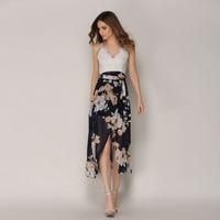 2018 Women Summer Dress Boho Deep V Neck Backless Long Chiffon Split Cross Lace Up Dress