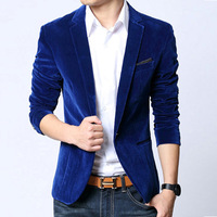 Mens Blazer Slim Fit Suit Jacket Black Navy Blue Velvet 2014 Spring Autumn Outwear Coat Free