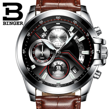 BINGER Luxury Auto Date Watch Men Water Resistant Steel Men Watch Fashion Dress Business Design Leather