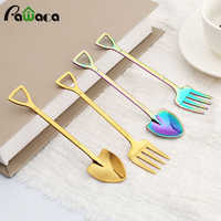 2 Pcs Kitchen Stainless Steel Dessert Shovel Spoon and Fork Picnic Travel Creative Cute Design Ice Cream Spoon Fruit Fork Set