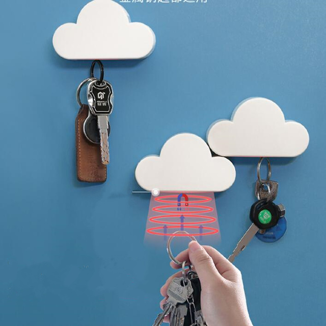 Minimalist Cloud Shape magnetic key holder Anti-lost Securely Home Metal gadgets Magnets fixed Wall Organization Storage rack