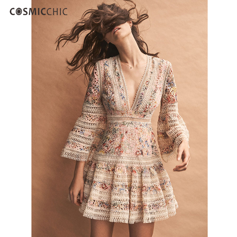 Cosmicchic Haute Couture Runway Designer Mesh Pink Floral dress Horn Sleeve Deep V Dresses Hollow Embroidery Holiday Dress LY208
