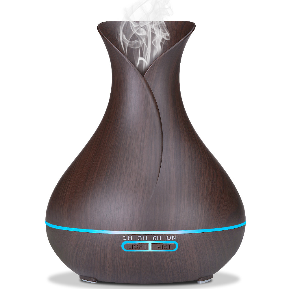 VVPEC 400ml Aroma Essential Oil Diffuser Ultrasonic Air Humidifier 7 color changing Auto Shut Off 10H Working Time Wood GrainVVPEC 400ml Aroma Essential Oil Diffuser Ultrasonic Air Humidifier 7 color changing Auto Shut Off 10H Working Time Wood Grain