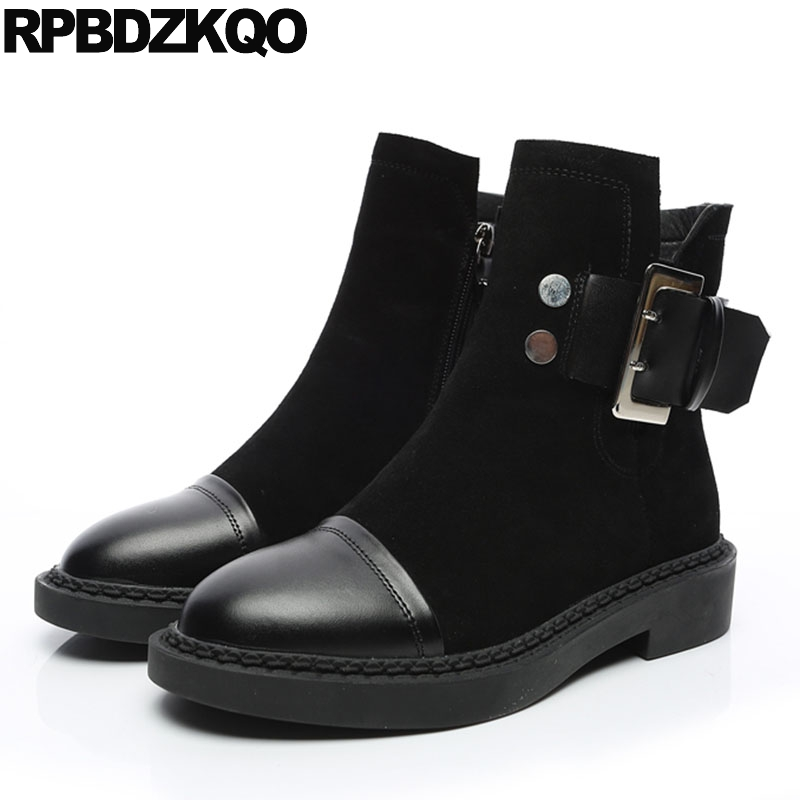 Ankle Embellished British Women Winter Autumn Platform Black Flat Booties Side Zip Boots Fall Metal 2017 Fashion New Short front lace up casual ankle boots autumn vintage brown new booties flat genuine leather suede shoes round toe fall female fashion