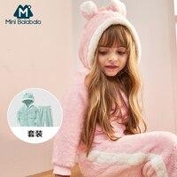 Mini Balabala 2pcs Set Children Pajamas Flannel Long sleeved Suit Autumn Winter Thickening Baby Kids Pajamas Plus Cashmere Home