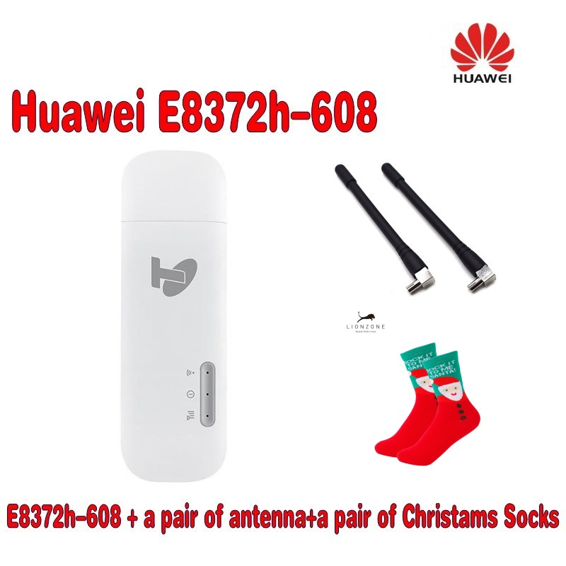 Unlocked New Huawei E8372h-608 Plus Antenna And Free Gift 4G LTE 150Mbps Wireless USB WiFi Modem